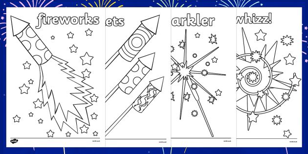 Free Printable Fireworks Bonfire Night Colouring Sheets