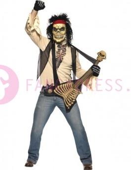 Dit Zombie Rocker kostuum bestaat uit:  Een beige gescheurd shirt.  Een zwart vest.  Een eng skelet masker met zwart krullend haar.  Een rode hoofdband.  Een speelgoed bot gitaar.