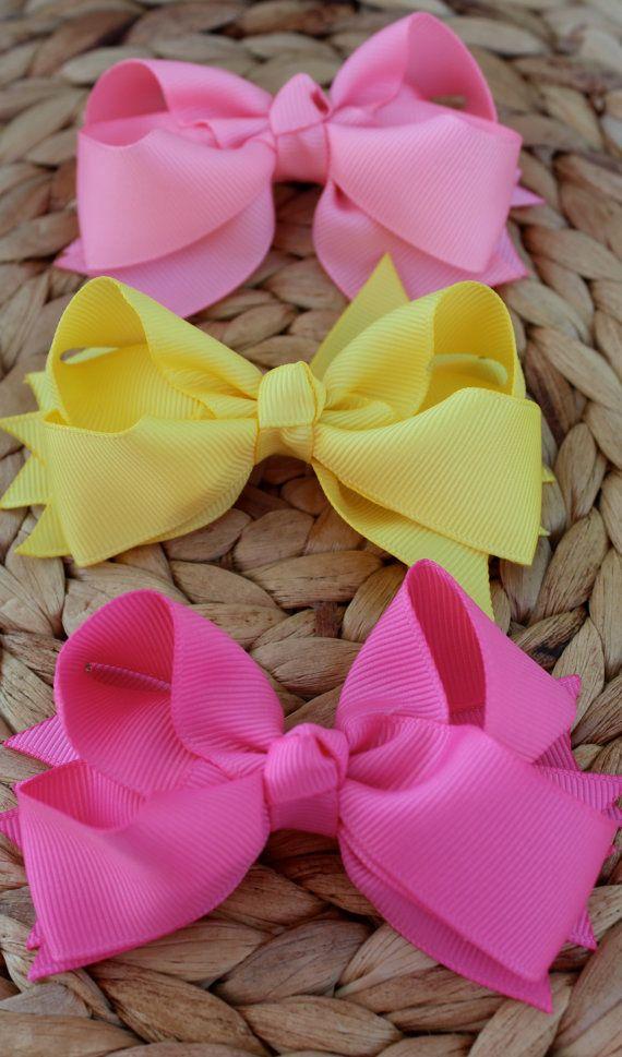 Medium Hair Bows Set of 3 Spring by PandHDesign on Etsy, $11.00