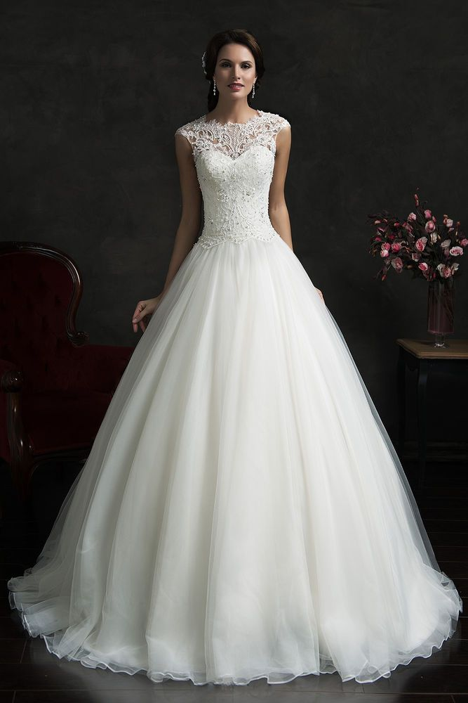 Organza Detachable Cap Sleeve A-line Wedding Dress uk 6-18
