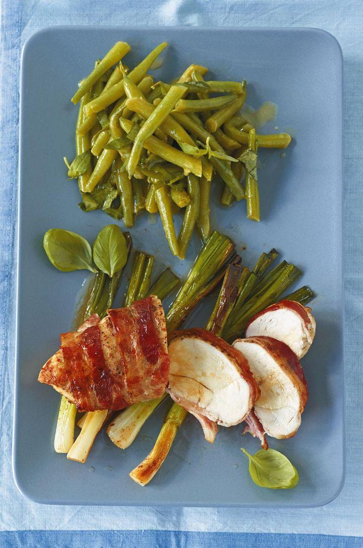 Speck-Hähnchen mit Bohnensalat - [ESSEN UND TRINKEN]
