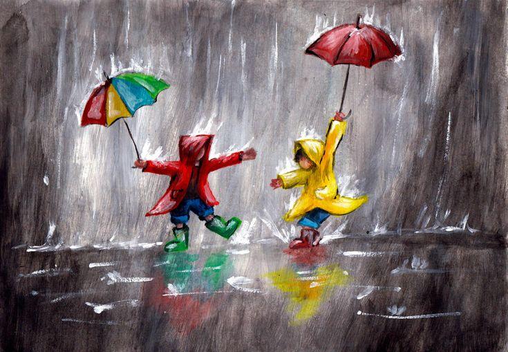 ArtMasters Playing in the Rain | Acryl | Leinwand | Spielende Kinder im Regen | Regenschirme | Pfützen | Bunt | Kreative Events