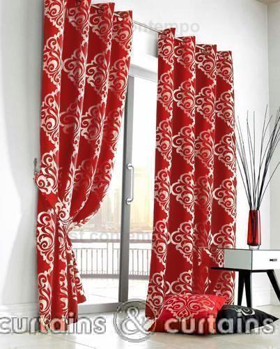 Rich red & Silver designer curtains