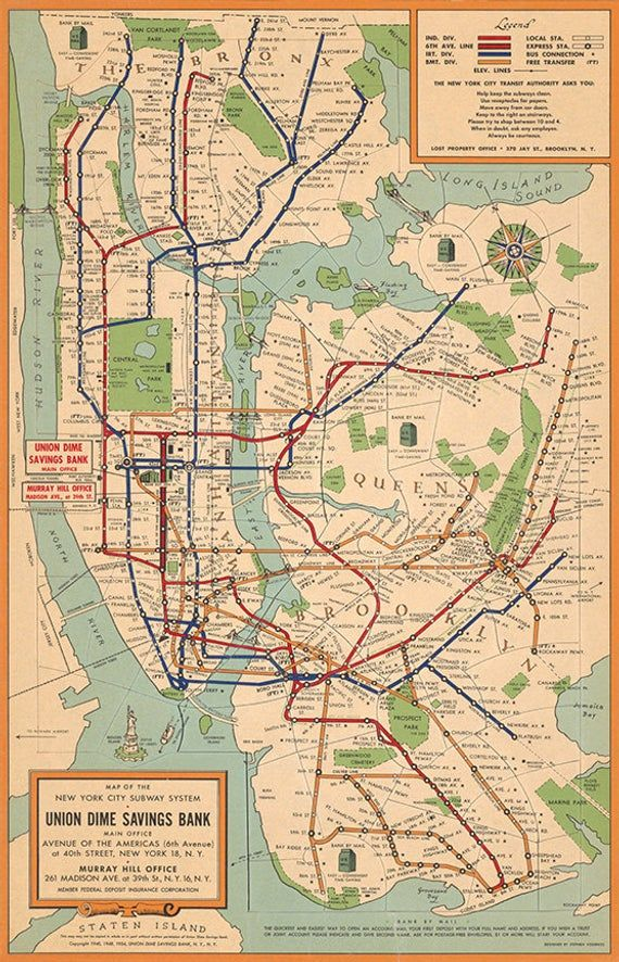 Small Nyc Subway Map.Map Of New York City Subway System 1954 Vintage Restoration