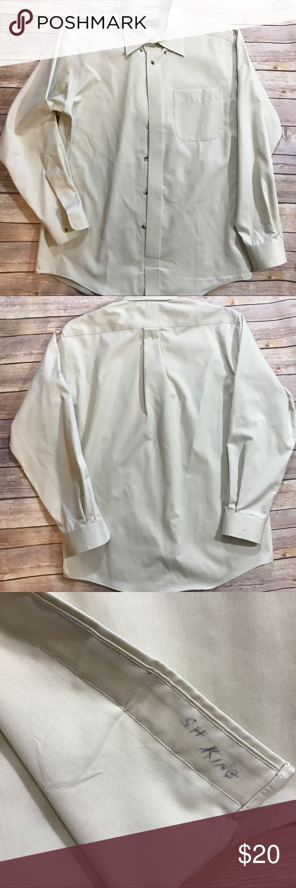 LL Bean Men's dress shirt LL Bean shirt. Very good condition. Name written inside, as shown, from cleaners. Wrinkle resistant fabric. Size: 15.5-32. Off white. L.L. Bean Shirts Dress Shirts