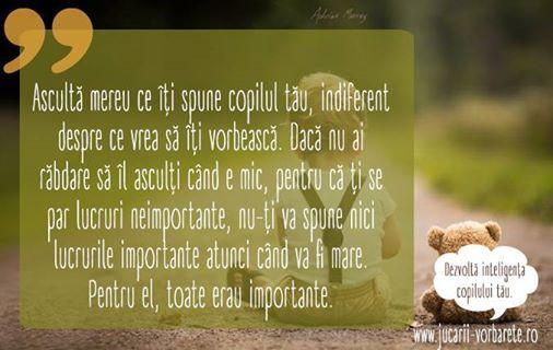 Un sfat pe care toți părinții ar trebui să-l citească.   Dezvoltă inteligența copilului tău --> www.jucarii-vorbarete.ro