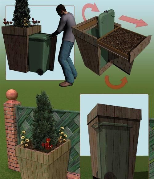 The Outdoor Planter Let's take a walk outside for our last shining example. Options abound here , but we're particularly fond of this one. This isn't just a way to hide your garbage can, it's also an adorable little garden! And really, not much can beat that. With this option available, you might have a hard time settling for just hiding your trash can when you know it could be an awesome decorative planter, too. by bleu.