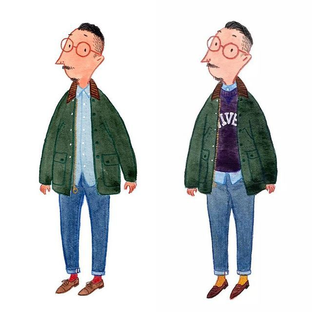 6 ways of wearing Barbour Bedale #barbour #mensfashion #fashionillustration…