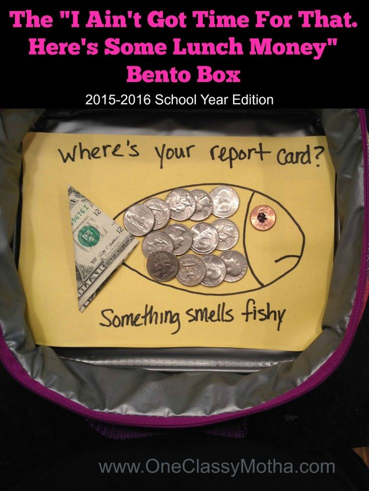 "Guess what time it is!? It's Bento Box Season, Bitches!  Don't worry, you're covered with the ""I ain't got time for that. Here's some lunch money"" Bento Box  www.OneClassyMotha.com"