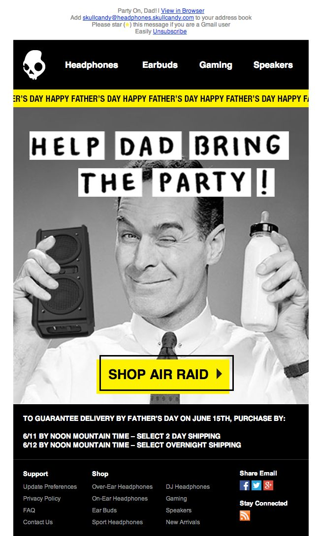Skullcandy father's day email 2014