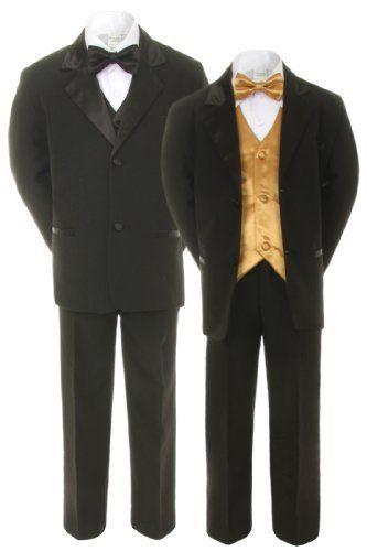 Unotux 7pcs Boys Black Suits Tuxedo with Satin Gold Bow Tie Vest Sets (S-20), http://www.amazon.com/dp/B00HZ69TSQ/ref=cm_sw_r_pi_awdm_598Ntb0GZBXBM