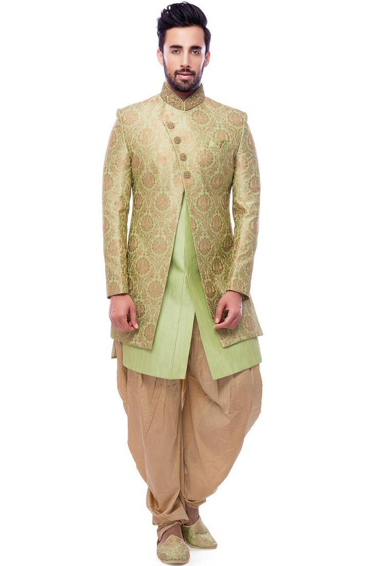 Green Brocade Zari Woven IndoWestern Sherwani-IW1115