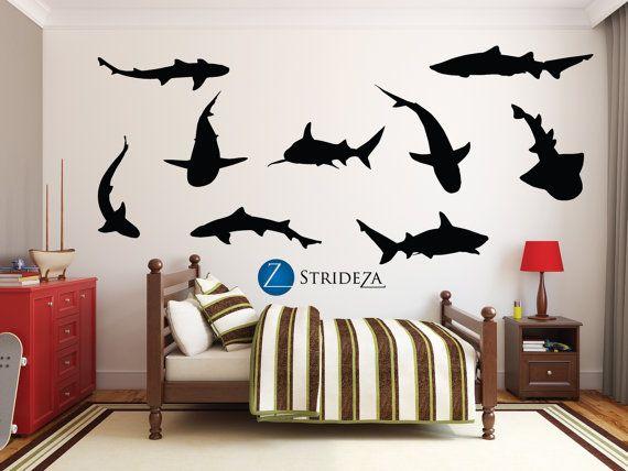 Shark silhouette 9 piece set Shark decor shark decal by Strideza