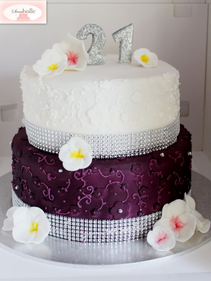 Mauve, white and silver themed 21st birthday cake with frangipani sugar flowers