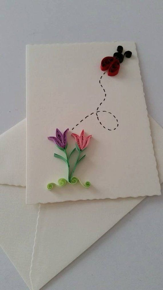 Quilled Card Quilling Art Quilled Flower Quilled Gift Greeting