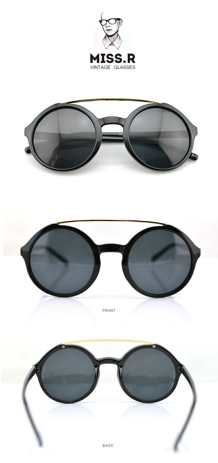 #Bright Black-Retro style glasses-Round sunglasses-metal bridge glasses -- Visit FUNMEMO.COM