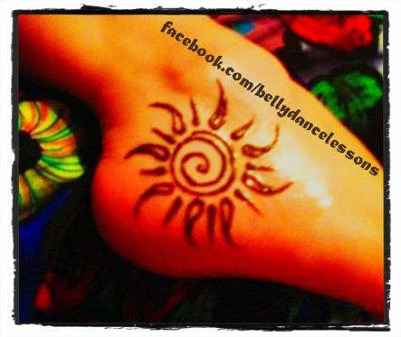 Simple foot henna design with sun and spiral. For more pics and fun stuff, news on belly dance classes and special events, and videos, visit facebook.com/bellydancelessons