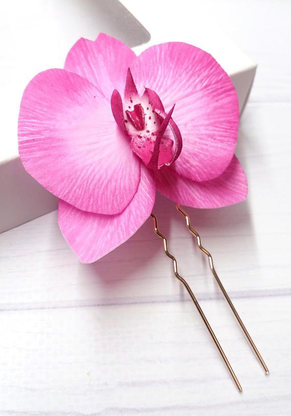 Bridal Hair Comb Orchid Hair Clip Bridal Hair Pins Floral Etsy In 2020 Bridal Hair Pins Bridesmaid Hair Accessories Prom Hair Accessories