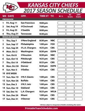 Kansas City Chiefs Football Schedule 2017