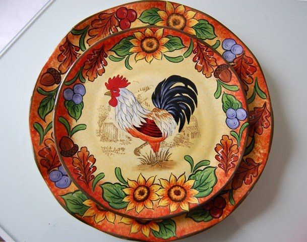 Elegant A Country Rooster Table Setting. Rooster PlatesRooster Kitchen ...