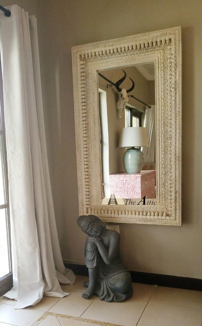 Our white boondi mirror looks stunning on this wall. Catch our pink bone inlay chest of drawers in the reflection!   #classic #traditional #vintage #furniture #home #homedecor #interiorstyling #interiordesign #carved #distressed #dubai #abudhabi #uae #theatticdubai