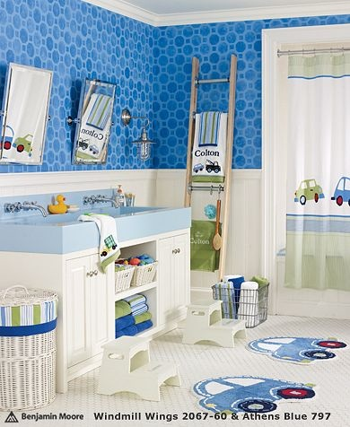 Cars are a fun theme idea for boys bathrooms. Check out these adorable kids bathroom accessories from Pottery Barn Kids. I especially love the bath mats and shower curtain.