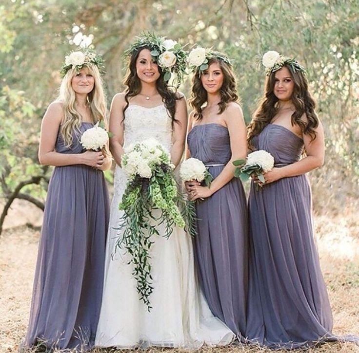 These sweet gowns would do any bohemian wedding proud. #donnamorgan Bridesmaid Dresses: Donna Morgan - donna-morgan.com