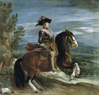 """Felipe IV, a caballo"", Diego Velázquez. Óleo sobre lienzo, h. 1635"
