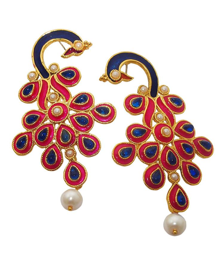 Best for festive & wedding wear, Kriaa Blue And Pink Meenakari Pearl Drop Peacock Gold Plated Dangle Earrings @ Rs. 345/- Buy now at http://www.jewelmaze.in/product/AAA0492/Earrings/Kriaa-Blue-And-Pink-Meenakari-Pearl-Drop-Peacock-Gold-Plated/?pd=EHD#.Vta-PX197IU