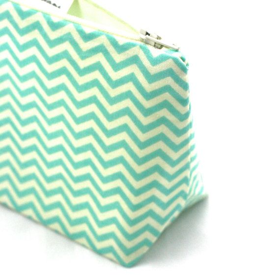 Cosmetic Bag in Chevron Aqua/Robin Egg by LePiqueNiqueHandmade
