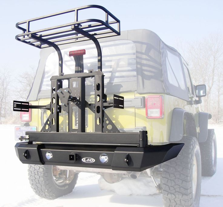 LoD Offroad XPD3021-C 1976-1986 Jeep CJ Xpedition Series Bumper/Tire Carrier w/ Trail Rack & Jerry Can Mounts | Autoplicity
