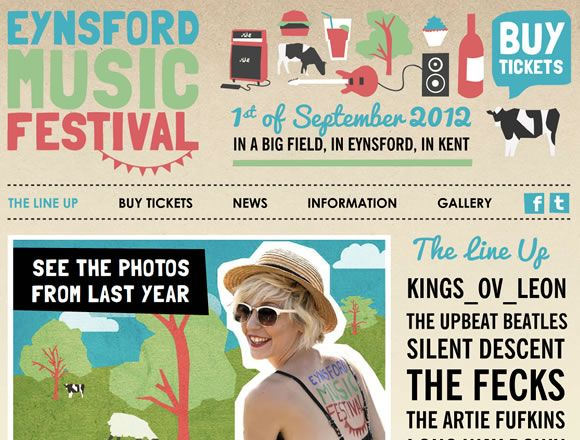 Eynsford Music Festival / eynsfordmusicfestival.co.uk / Lolly Morris / #clouds #festival# music# typography #colorful