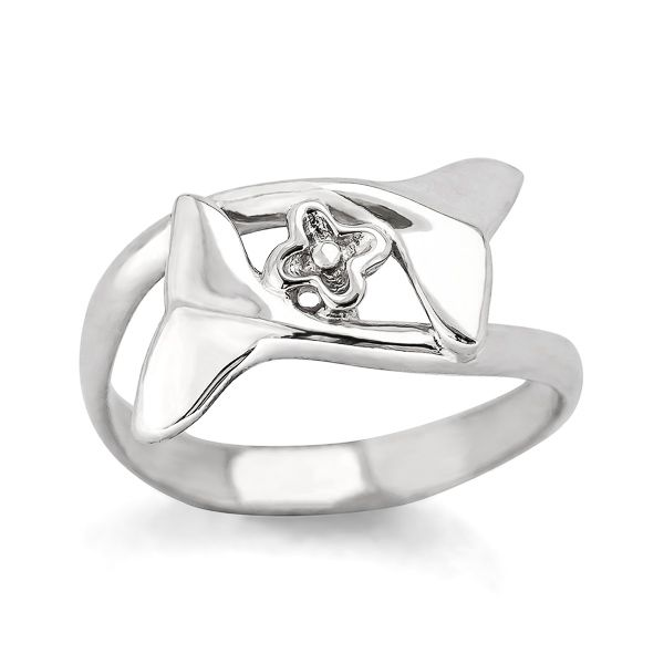 Sterling Silver Embrace & Protect Whale Tail Ring