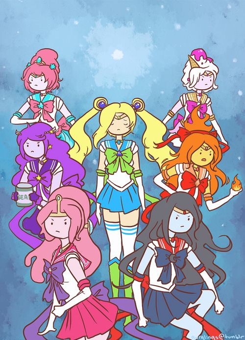 Sailor Moon x Adventure Time - I remember having a crush on Sailor Jupiter when I was a kid lol
