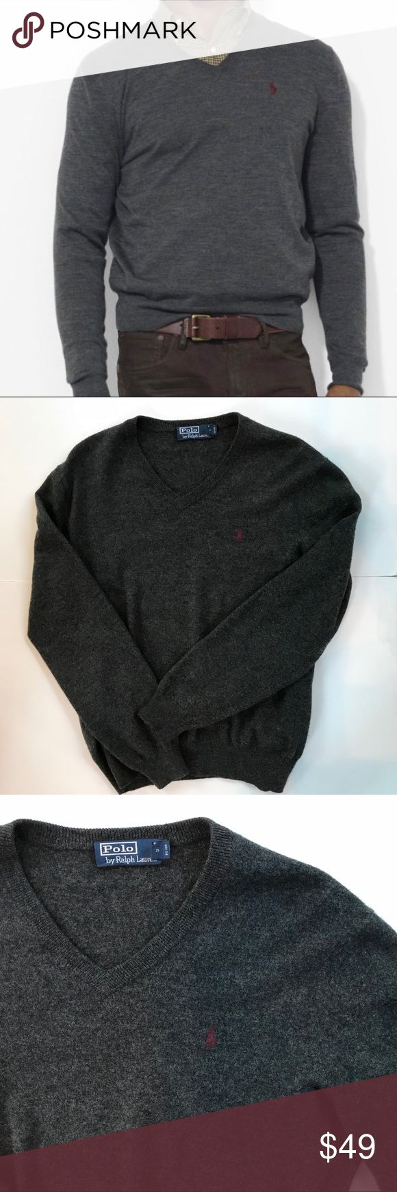 Ralph Lauren Gray Merino Wool V neck sweater Sz M Ralph Lauren classic v neck sweater. Soft merino wool. Note - the tags do not have fabric content; however, when I look up the item number it says merino wool. Tag is from Europe.   Measurements: Under arm to under arm  Arm length Shoulder to hem Ralph Lauren Sweaters V-Neck
