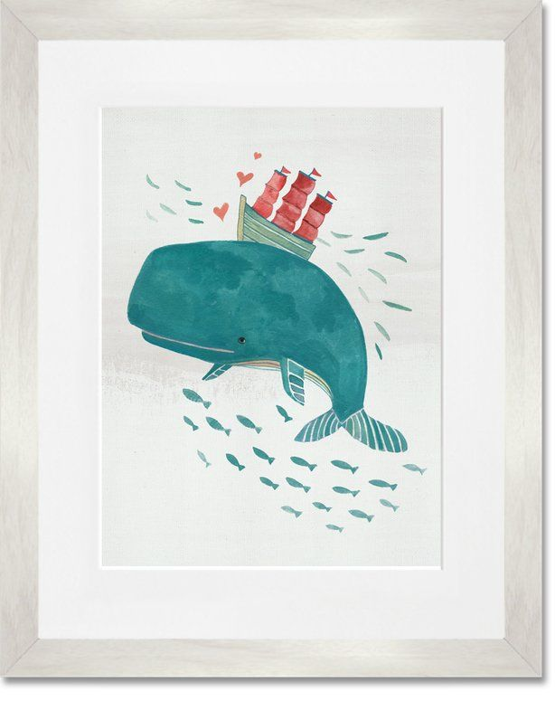 Whale Framed Graphic Art Print Graphic Art Print Oopsy Daisy Whale Artwork