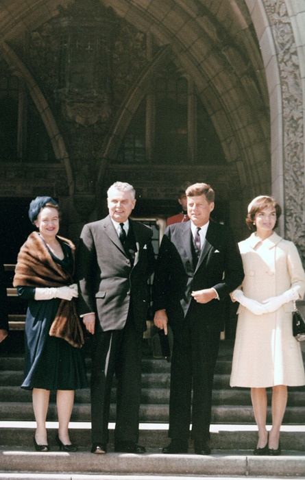 Jackie and John Kennedy with Canadian Prime Minister Defenbaker.