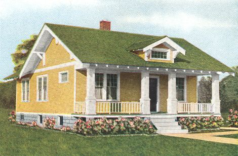 Craftsman Exterior Colors A Green Roof On A Yellow House With Off White Trim Softens An Exposed