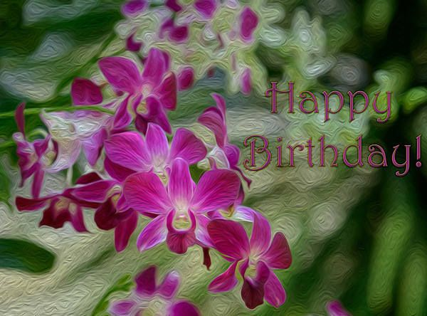 Happy Birthday Orchids Greeting Card Orchid Greeting Card Happy Birthday Flower Happy Birthday Greeting Card