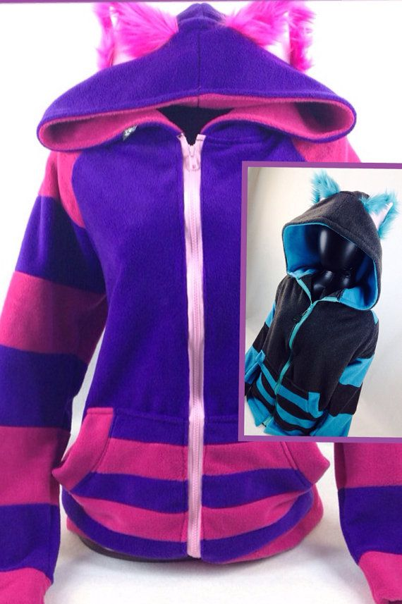 SALE 15 Off Pawstar CHESHIRE Cat HOODIE - Available in Classic Pink & Purple and Tim Burton Grey and Turquoise Alt Cheshire 6135