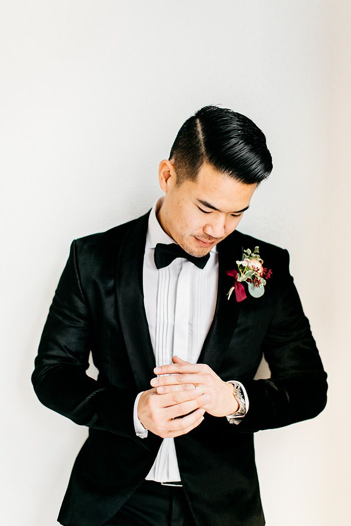 Sharp Dressed Groom in a Suit and Bow Tie
