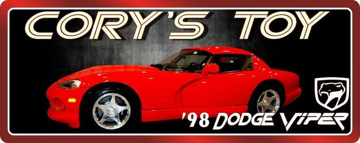 Red 1998 Dodge Viper Personalized Sign with Dark Background & Red Border #dodgeviper
