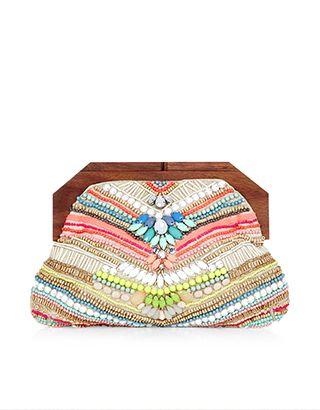 Capri Wooden Clipframe Bag | Multi | Accessorize