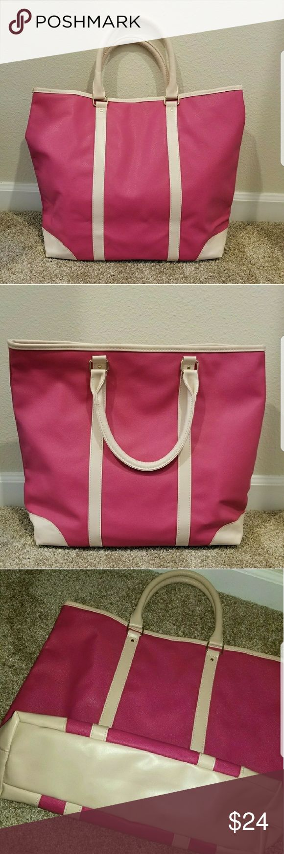Pink and cream tote bag Pink and cream / beige tote bag great for beach or every day! I've only used this once, but in excellent like-new condition. 2 small dots on one side, hardly noticeable (see close up image and full image).  Faux leather but sturdy, soft, and flexible. Sturdy handles. Inner lining with small interior zipper pocket Bags Totes