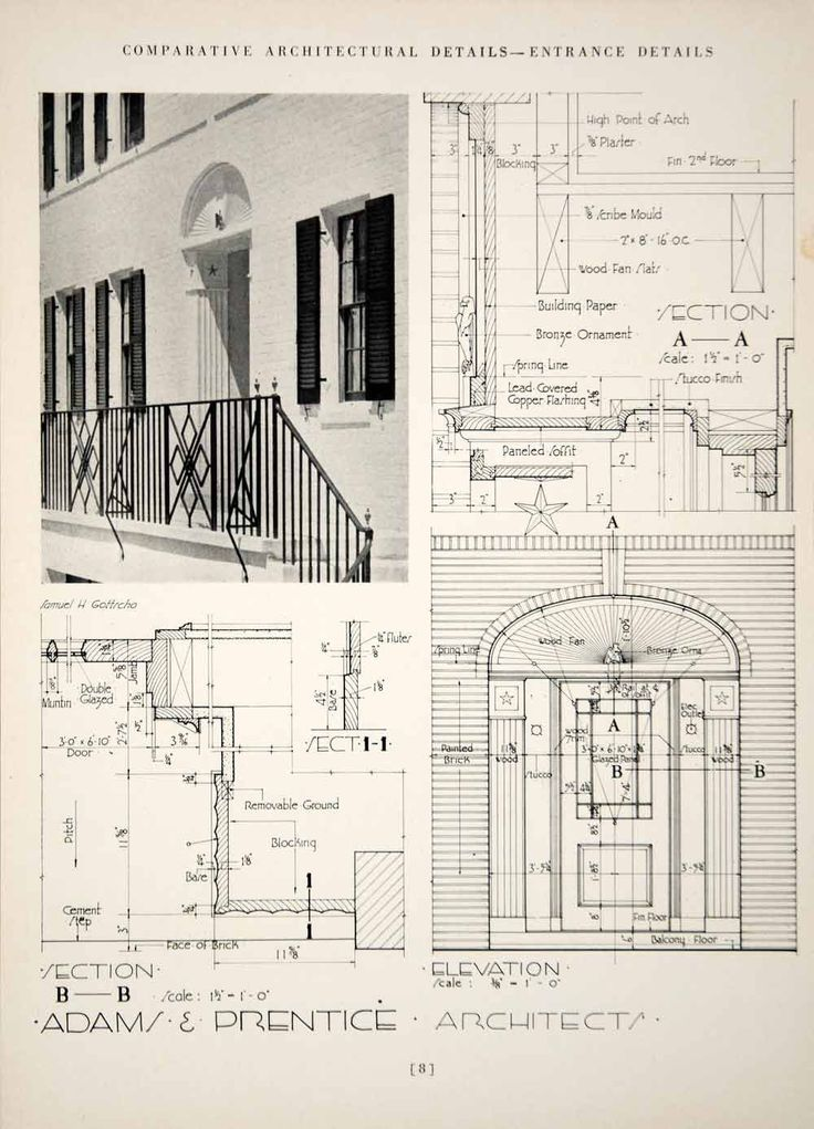 1937 Print Adams Prentice Art Deco Entrance Doorway Balcony Architecture YCA1