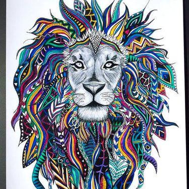 Colorful Lion Head Tattoo Design