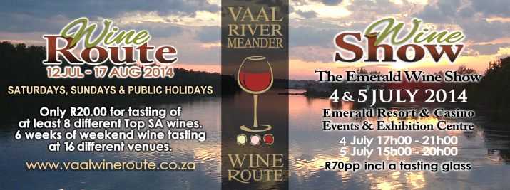 Save the date! It's almost that time of the year again where we get to savour top SA wines at the Vaal River!