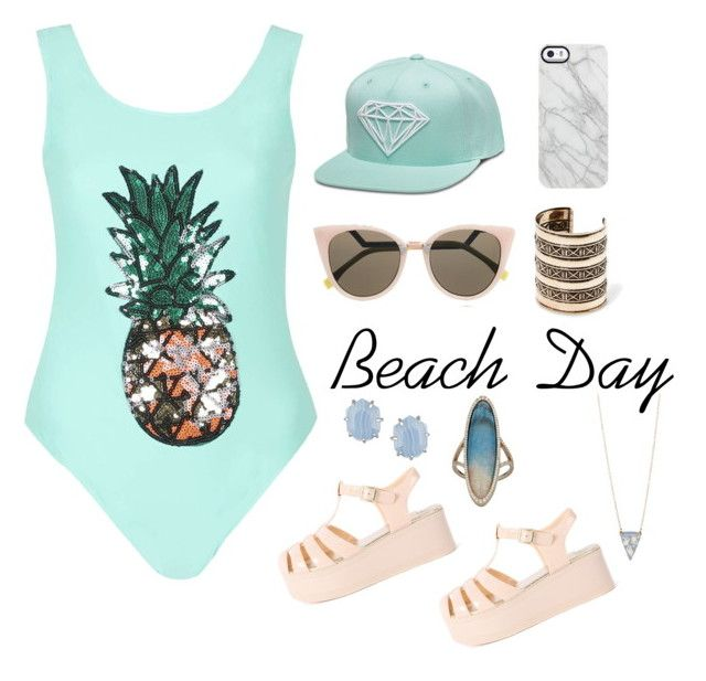 Beach Day by earringsandstuff on Polyvore featuring polyvore, fashion, style, Rare London, MANGO, Monique Péan, Kendra Scott, Vinca, Fendi and Uncommon