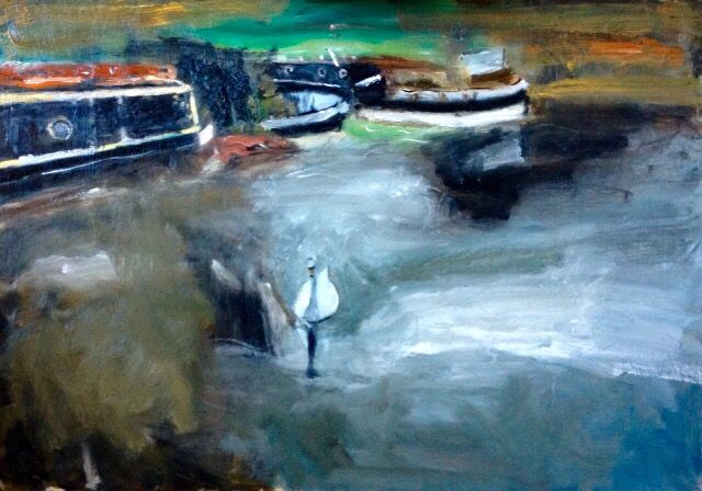 Cheshire Canal oil painting 40cm x 50cm