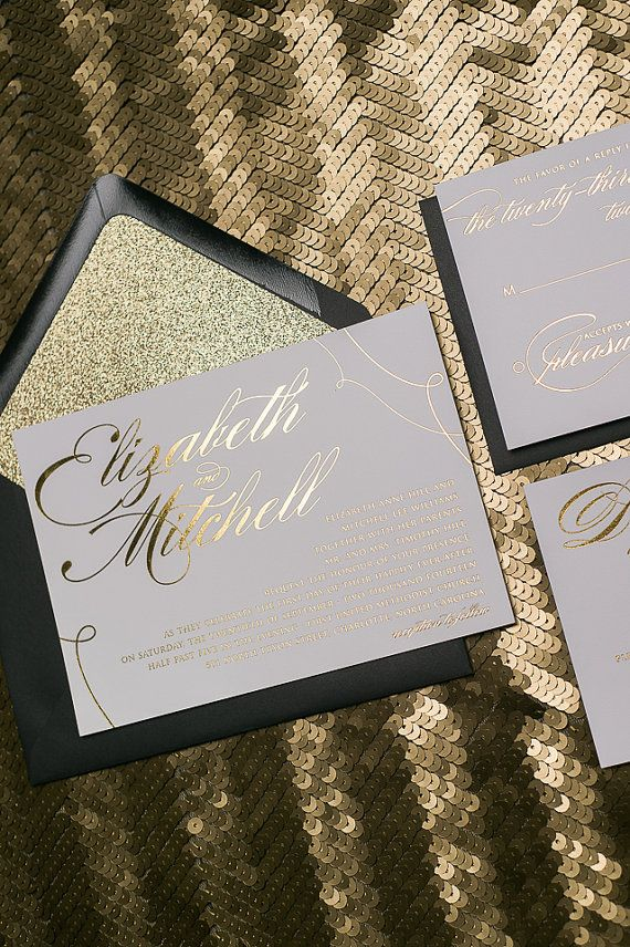 Foil Black and Gold Glitter Calligraphy Wedding by JustInviteMe